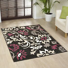LARGE XL MODERN AUBERGINE PURPLE BLACK CREAM IVORY GREY FLORAL FLOWER DESIGN RUG
