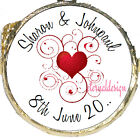 PERSONALISED WEDDING DAY RED HEART SWIRL MINT CHOCOLATES FAVOURS SWEETS WDMC 29