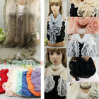 Chic Fashion 3D Flower Lace 100% Viscose Long Scarf Ruffle Neck Tie With Tassel