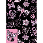 Dragonfly, Butterfly and Flowers black pink lilac gift wrap 2 sheets and 2 tags
