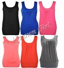 WOMENS LADIES PLAIN GATHERED FRONT SLEEVELESS STRETCH RUCHED VEST LONG TOP 8-14