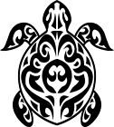 Tribal Art Sea Turtle Vinyl Wall Art Sticker Present Gift Marine Green Ocean big