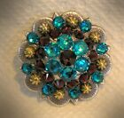 Crystal Berry Concho ~ Handcrafted with Turquoise and Maroon Swarovski Elements