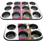 NEW NON STICK 6 OR 12 CUPCAKE TRAY BUN MUFFIN  PAN MOULD UTENSIL TIN PAN BAKING