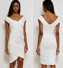 Bandage Bodycon Wedding Cocktail Evening Pleated Dress Ivory White New 8 - 20