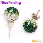 8mm/6mm pave shining Rhinestones crystal ball silver plated stud earrings