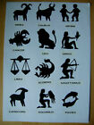 Full Set of 12 Star Signs - Matt Black Silhouettes - Large or Small