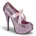 Pink Glitter Platform Pinup Shoes Drag Queen Heels Ankle Boots size 10 11 12