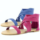 Sexy Fashion Strappy Gladiator Elastic Band Flat Heel Causal Sandals Women Shoes