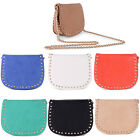 NEW LADIES STUDDED FAUX LEATHER CROSS BODY CASUAL EVENING GOLD CHAIN STRAP BAG
