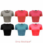 LADIES PLAIN BRA SHORT SLEEVE WOMENS STRETCHY TEE T-SHIRT VEST CROP TOP 8-14