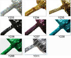 "8 colours- 1""(2.5cm) / 3 Rows Shiny round Sequin Stretch Elastic Trim Yardage"