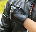 man's new hollow edge style real top goat leather everyday/motor gloves black