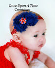 4th of July Shabby Flower Newborn Headband - Baby Girl Hair Bow - Red White Blue