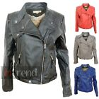LADIES FAUX LEATHER BIKER JACKET WOMENS PVC THREE POCKET BOMBER COAT SIZE 12-18