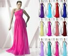 Chiffon One shoulder Bridesmaid Dress Formal Evening Dress Size 6-8-10-12-14-16