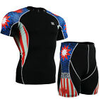 FIXGEAR C2S-SET-B37 Skin-tight Compression Under Base layer T-Shirt & Shorts MMA