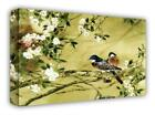 LARGE CANVAS ART BIRDS FLORAL PLUM BLOSSOM PAINTING A1 Premium Wall Print Framed