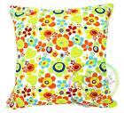 AF227a Lime Red Daisy Off White Cotton Canvas Cushion Cover/Case Custom Size
