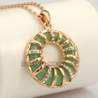 A1-P369 Fashion Simulated Jade Necklace Pendant 18KGP use Swarovski Crystal