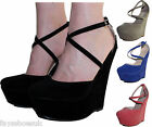 NEW WOMANS LADIES HIGH WEDGE FOOT STRAP COURT SHOE SIZE 3-8