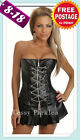 Midnight Black Zip Front PVC Corset W/Skirt Set Metal Chain-Front Bonnings 8-18