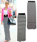 NEW THIN THICK STRIPE MAXI SKIRT HIGH WAISTED PENCIL STRETCH JERSEY FABRIC BOHO