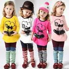Cute Baby Toddler Girls Animal 3 PCS set Pink Yellow size 0,1,2,3