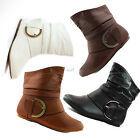 Ankle High Flat Heel Motorcycle Combat Rider Boot Cowboy Dress Round Toe Shoes