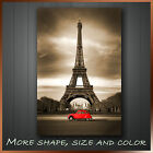 ' Eiffel Tower Red Beetle Paris City ' Modern Wall Art Deco Canvas Box ~ 1 Panel