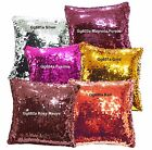 Gg 9mm Plain Color Shiny Sequins w/ Velvet Cushion Cover/Pillow Case Custom Size