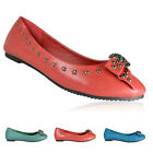 LADIES NEW FLAT RED SKULL STUDDED BALLET BALLERINA PUMP CASUAL SHOES SIZE UK 3-8