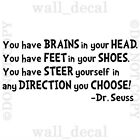dr seuss quotes brains in your head - Dr Seuss Great Places Brains In Your Head Vinyl Wall Decal Sticker Quote Nursery