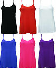 WOMENS LADIES PLUS SIZE SLEEVELESS STRETCH  LONG PLAIN STRAP VEST TOP 14-28
