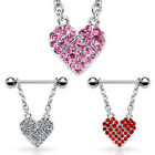Pair of 316L Surgical Steel Nipple Ring with Pave Gemmed Heart