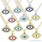 Evil Eye CZ Crystal Charm Greek Turkish Nazar Hamsa Kabbalah Necklace Pendant