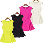 Women's Peplum Tops Frill Pleated Skirt Fitted Candy Color Shirt Clubwear Blouse