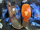 WILD WEST SQUARE BROWN GENUINE SHARK RODEO WESTERN COWBOY BOOT 1D28407