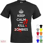 T-Shirt Keep Calm and Kill Zombies Maglietta Uomo-Donna Bianca-Colorata