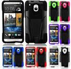 For HTC One Mini T-Stand Impact Hybrid Fusion Tuff Cover Case + LCD Screen