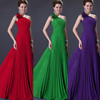 One Shoulder Pleated Bridemaid Dress Party Gowns Prom Ball Evening Dress UK 6~20