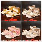 NEW Girls Full Leather Sandals Gold Silver Pink White size 4 5 6 7 8 8.5 w/ heel