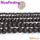 "Natural Stone Beads Black Lava Rock Round Strand 15"",4,6,8,10,12,14,16,18,20mm"