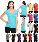 SHORT SLEEVE V NECK T-SHIRT SOLID COLOR PLAIN BASIC T-SHIRT TOP - S M L