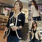 Elegant OL Womens Hook Button Collarless Slim Blazers Coats Outwear Jacket Suits