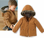 Boys Baby Winter Warm Cotton Padded  Fur Hoodie Jacket Coat Snowsuit Outwear