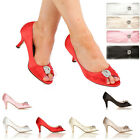 NEW WOMENS BRIDE WEDDING PARTY PROM SHOES HEELS PEEPTOE DIAMANTE PENDANT MAID