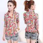 Fashion Girl Women Flower Pattern Shirt Notched Collar Tops Blouse