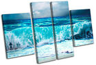 Storm Wave Blue Sunset Seascape MULTI CANVAS WALL ART Picture Print VA