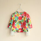 Girls Shirt with Bright Floral Pattern and Unique Side detail